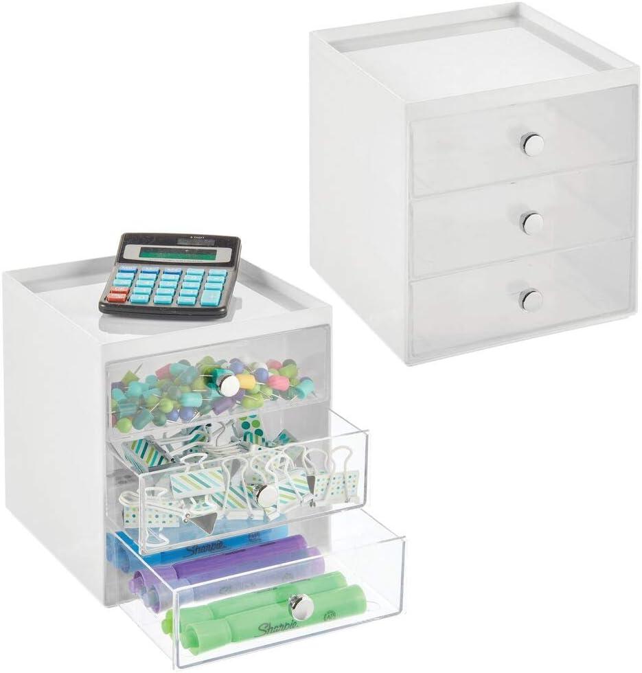 etc Lot de 2 Trombones Meuble /à tiroir Compact en Plastique pour Le Bureau tiroir de Rangement pour stylos Bloc-Notes Blanc et Transparent mDesign Boite de Rangement Bureau avec 3 tiroirs