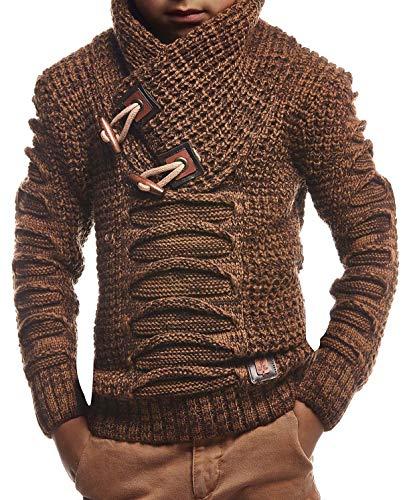 Leif Nelson Kinder Jungen Pullover Strickpullover Schalkragen Winterpullover schwarzer Pullover für Winter Hoodie Sweater Sweatshirt Langarm LN5575K 6-7 Camel-Braun
