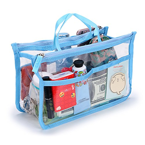 IGNPION Transparent PVC Insert Handbag Organizer 8 Pockets Travel Makeup Toiletry Wash Bag Cosmetic Pocket Purse Organizer Insert for Girls Women with Zipper and Handles