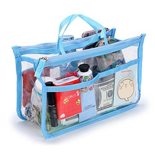 IGNPION Transparent PVC Insert Handtasche Organizer 8 Taschen Reise Make-Up Kulturbeutel Waschbeutel Kosmetiktasche Organizer Insert für Mädchen Frauen mit Reißverschluss und Griffe (Blau)