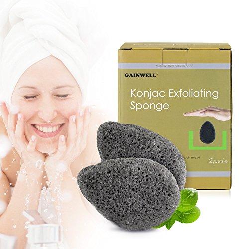SPUGNA VISO KONJAC -100% naturale 2 pz con carbone di bambù alcalino vitamine e minerali GAINWELL