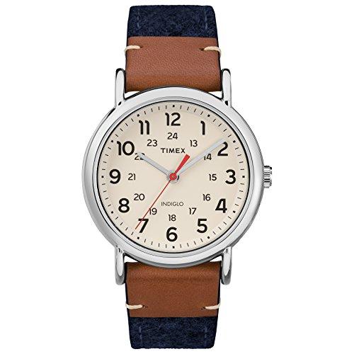 Timex Unisex TW2R42000 Weekender 38 Blue/Brown/Cream Fabric/Leather Strap Watch