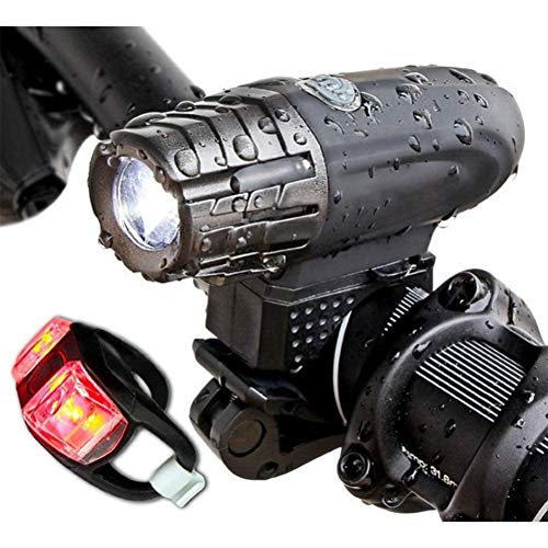 Wzmdd Fietsverlichtingsset USB oplaadbaar, fietslamp, super heldere 1000 lumen IP65 waterdichte voorlamp en achterlicht mountainbike racefiets MTB