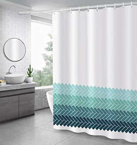 Uphome Fabric Shower Curtain, Ombre Blue Cross Striped Pattern on White Chic Extra Long Decorative Curtain Ideas Set for Bathroom with Hooks, Waterproof (72' W x 78' H)