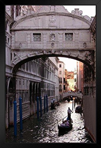 Gondola Under Bridge of Sighs Venice Italy Photo Black Wood Framed Art Poster 14x20