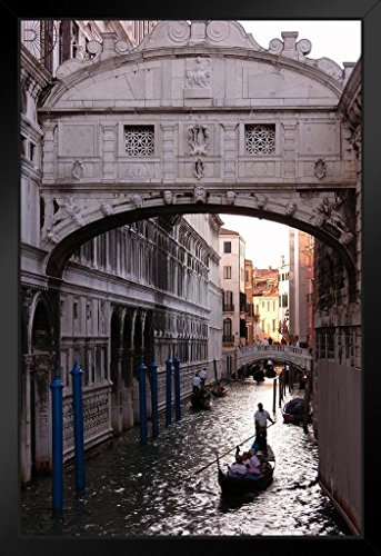Gondola Under Bridge of Sighs Venice Italy Photo Black Wood Framed Art Poster 14x20