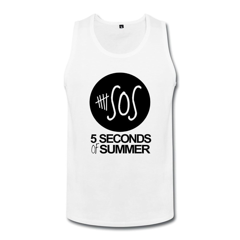 メンズ かわいい 5ユニークsos ロック バンド ランニング シャツ 100%棉 White