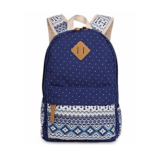 Evay Lona Mochila Vintage Polka Dot School Bolsa para Las niñas Jóvenes Chicas y Niños Ligero Lindo Impermeable Casual Morral Daypack Schoolbag Mochila Azul