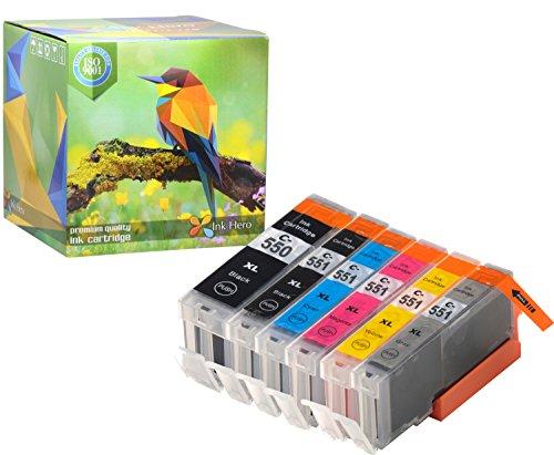 Ink Hero Compatible Ink Cartridge Replacement for Canon CLI-251, PGI-250, PGI-250XL, CLI-251XL (Pigment Black, Black, Cyan, Magenta, Yellow, Gray, 6-Pack)