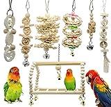 Juguetes de Loro Pájaros 7 Piezas con Juguete de Masticación y Columpios de Perchas Usado para Jaula de Aves - Decoracion de Pajarera y Campana Colgante Hamaca para Periquitos, Cockatiels