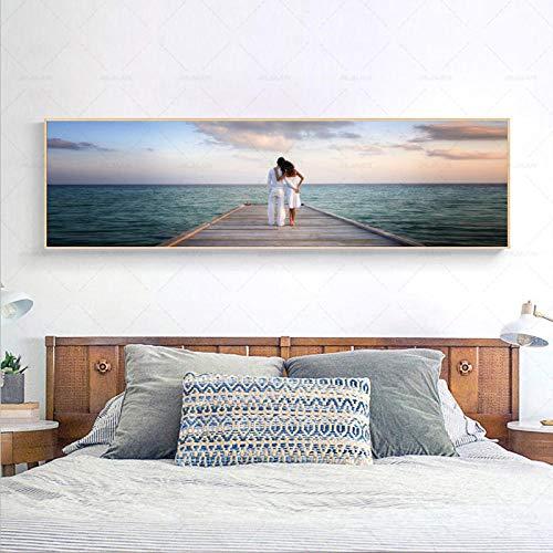 YWOHP Cuadro artístico de Pared, Lienzo Impreso en HD, Olas en la Playa, Pintura al Atardecer, póster con Vista al mar, Sala de Estar, decoración del hogar, 90x30 cm sin Marco