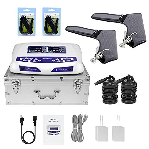 Dual Ionic Foot Bath Detox Machine, Foot Detox Spa, Ion Cleanse Color LCD with 2 Arrays, FIR Shoulder Wraps, Waist Straps, 4 Tens Pads, 10 Liners (Blue+ 2 shoulder brace)