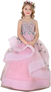 660b4a43599 Bow Dream Flower Girl Dress Vintage Sleeveless Princess Pageant Dresses Kids  Prom Ball Gown