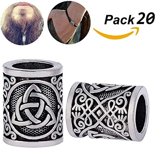 20St Viking Sieraden Stainless Steel De Hamer Van Thor Ketting Rune Beads Symbol Antique Nordic Pendant Runic Amulet Viking Sieraden Voor Mannen, 8Mm Gat