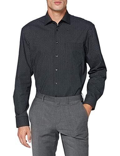 Seidensticker Herren Business Hemd - Bügelleichtes Hemd - Comfort Fit - Langarm - Kent-Kragen - Brusttasche - 100% Baumwolle,Schwarz,50