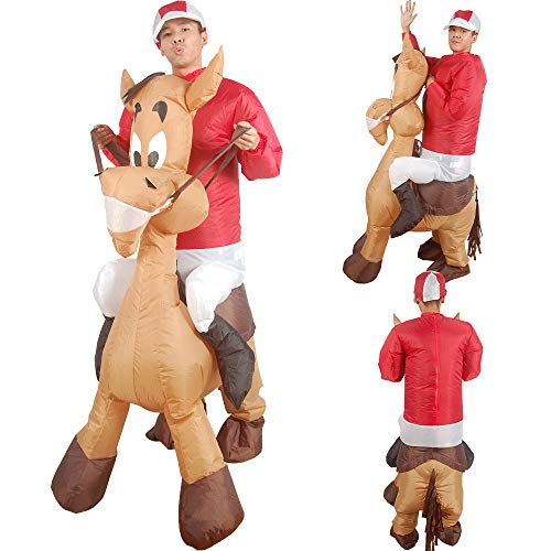 ZZNB Inflatable Costume Riding A Donkey Modeling Halloween Costume Cute Cartoon Doll Costume Walking Animal Pants Cosplay Adult