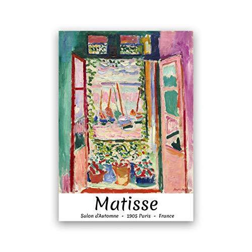 ZHINING Henry Matisses offenes Fenster abstrakte Leinwand Poster und Drucke Ölgemälde Wandbilder hochauflösende Drucke Wohnzimmer Wohnkultur @ 42x60cm