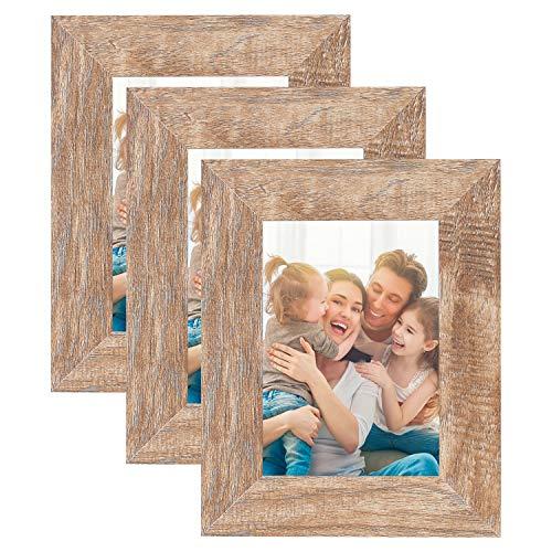 HelaAccueil 3er Set Holzbilderrahmen Bilderrahmen 13x18 cm, aus MDF mit Hochauflösende Glas (Holzfarbe, 5x7'')