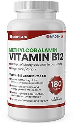 Vegan Vitamin B12 Methylcobalamin 1000mcg 180 Tablets (6 Months Supply) Made in The UK by Nutri-Ark