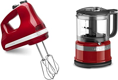 KitchenAid 5-Speed Ultra Power Hand Mixer, Empire Red & KFC3516ER 3.5 Cup Food Chopper, Empire Red