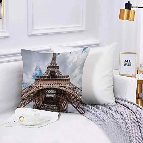 Lilatomer Funda de algodón 45 x 45 cm Torre Eiffel de Hierro Diseño Paris Sightseeing Go Sunset Awaresome Van Sofá Throw Cojín Almohada Caso de la Cubierta para Sala de Estar 45x45cm