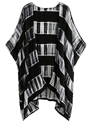 SweatyRocks Women Kimono Vintage Floral Beach Cover Up Tie dyed XX-Large