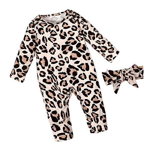 Newborn Baby Girl Clothes Leopard Long Sleeve Footless Romper Jumpsuit Cotton Cheetah Outfit 0-3 Months