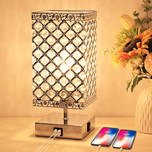 Touch Crystal Lamp, 3 Way Dimmable Crystal Table Lamp with USB Ports and AC Outlet, Crystal Bedside Lamps with Sliver Crystal Lampshade Crystal Nightstand Lamp for Bedrooms, Living Room, Bulb Included