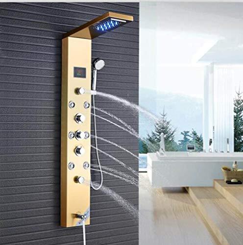 GFHDGTH LED Duschpaneel Bad Dusche, Wasserhahn Temperatur Digitalanzeige Badewanne Wasserhahn Körper SPA System Jets Turm Duschsäule Wasserhahn, Golden