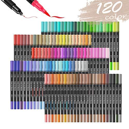 120色 デュアルチップアートマーカーペン - デュアルチップブラシマーカーペン 0.4本の細字マーカーと蛍光ペンブラシ付き 子供大人向け塗り絵 書道 ブレットジャーナルアートプロジェクト