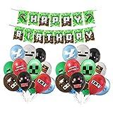 Smileh Game Deko Geburtstag Video Game Partyzubehör Happy Birthday Banner Video Game Party Luftballons für Miner Gamer Party Favors Videospiel Party Zubehör