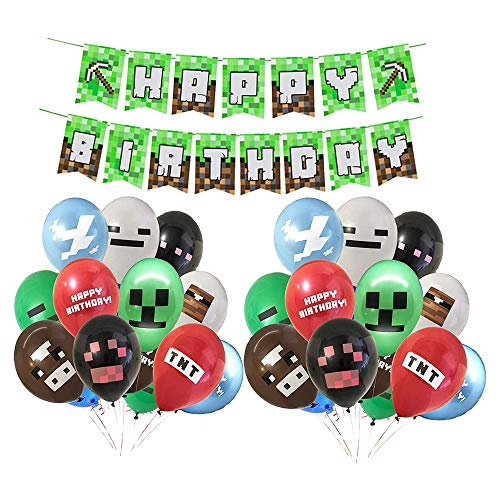 Smileh Game Deko Geburtstag Video Game Partyzubehör Happy Birthday Banner Video Game Party Luftballons für Miner Gamer Party Favors Videospiel Party Zubehör