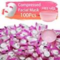 100 pcs Compressed Facial Mask Sheet Beauty DIY Disposable Mask Paper Natural Cotton Skin Care Wrapped Masks Normal Thick?Get a Small Mask Bowl Free from ZMBeauty
