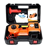 GOGOLO 5.0T(11000lb) Capacity Electric Hydraulic Car Floor Jack Kit High Lift,DC12V Auto Jack Set with Tire Inflator Pump and LED for Car, SUV, Pick Up, Van