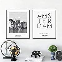 アムステルダム風景画キャンバスアートパネル黒と白の壁アートパネル市の座標ポスタープリント壁の装飾写真リビングルーム用40x60cmx2フレームなし