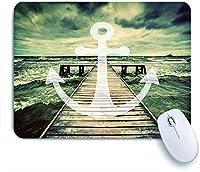 ECOMAOMI 可愛いマウスパッド 長い木製の桟橋で海の波のアンカープリント曇り空3D効果プリント 滑り止めゴムバッキングマウスパッドノートブックコンピュータマウスマット