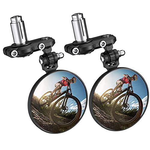Bike Mirror, Blast-Resistant Aluminum 360˚Rotatable Bicycle Rearview Mirror for Mountain Road Cycling Bike