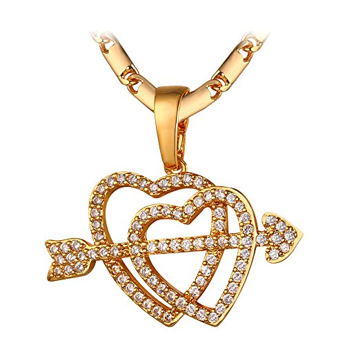 Valentines Girlfriend Gift Diamond Accented 18K Gold Cupid Arrow on Couple Hearts Charm Pendant Necklace