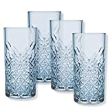Timeless 52800 bicchieri da long drink da 450 ml, 4 bicchieri con bordo diamantato in effetto cristallo a parete spessa, set di bicchieri da longdrink, colore azzurro