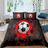 JRLTYU Funda nórdica Impresa en 3D Fútbol de Graffiti Blanco Rojo Negro Juego de sábanas de Microfibra con Cremallera+2 Fundas de Almohada Suave y Transpirable fácil Cuidado 140cmx200cm