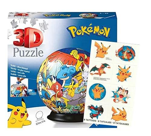 Ravensburger 11785 Puzzle 3D – Puzzle bola Pokémon – 72 piezas + tatuaje Pokémon – fans a partir de 6 años