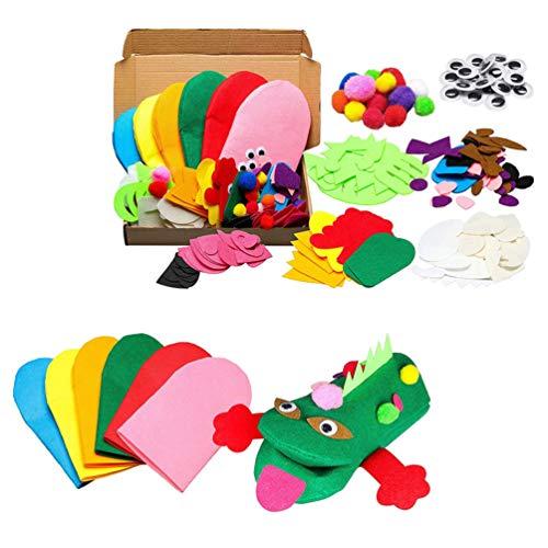 HEALLILY Kit de Fabricación de Marionetas de Mano para Niños Manualidades de Arte Marioneta de Calcetín de Fieltro Haz Tus Propias Marionetas Pompones Mueva Los Ojos Saltones para Contar