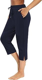 Sarin Mathews Womens Capri Yoga Pants Loose Workout Joggers Drawstring Sweatpants Lounge Pajama Capris Pants with Pockets