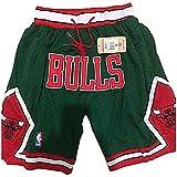 JNDM Pantalones Cortos de Baloncesto para Hombres Malla de Baloncesto Retro Swing Sports con Bolsillos Green-M