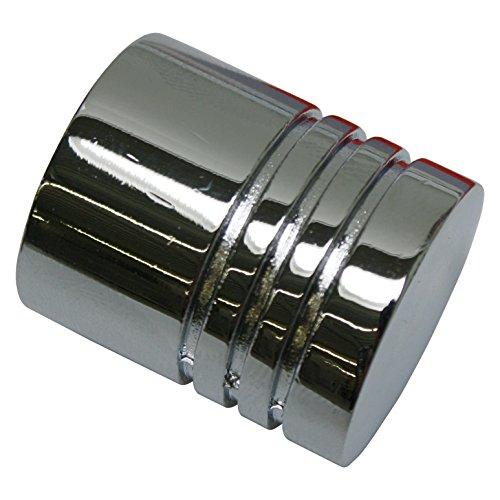 GARDINIA Endknöpfe für Gardinenstangen, 2 x Endstück Zylinder, Serie Chicago, Metall, Chrom, Durchmesser 20 mm