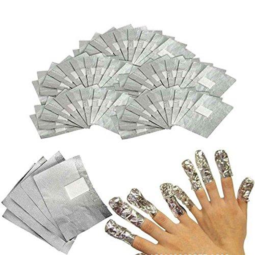 Fangfeen 100Pcs Nail Tinfoil Wrap Per impregna fuori dal gel acrilico QQ rimozione dello smalto per unghie Strumenti