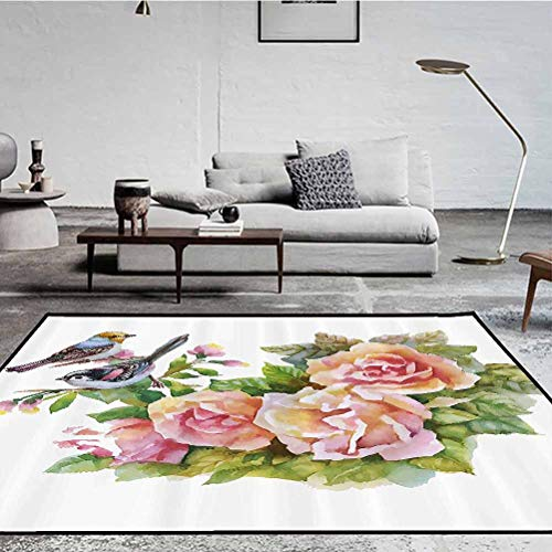Watercolor Polyester Runner Rug for Hallway Anti-Skid Area Rug Dining Living Room Carpet Wild Exotic Birds Roses Spring Season Flowers Leaves Buds Painting Artwork Image Multicolor 3.8 x 2.5 ft