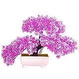 Dellefuture - Planta artificial de árbol Bonsái para decoración de casa, hotel, decoración de escritorio, color rojo rosa