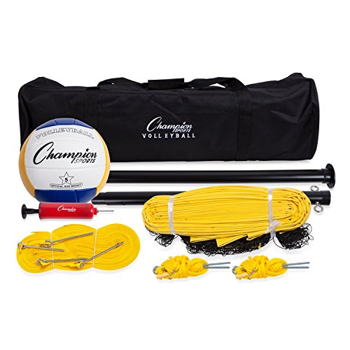 Champion Sports CG204 Outdoor Volleyball Set: Complete Portable Team Sports Set with Net, Poles, Ball & Accessories