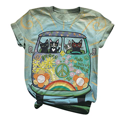 Camiseta feminina com estampa de gato, gola redonda, manga curta, casual, plus size, Verde, M